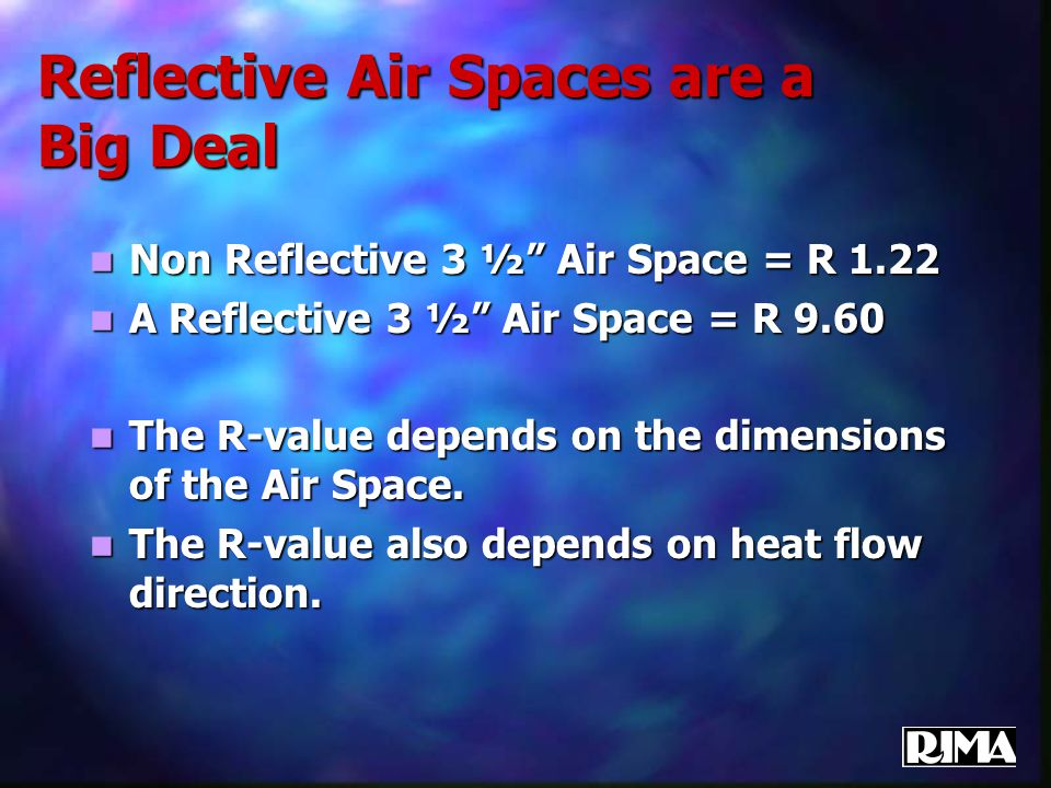 "Reflective Air Spaces are a Big Deal Non Reflective 3 ½"" Air Space = R 1.22 Non Reflective 3 ½"" Air Space = R 1.22 A Reflective 3 ½"" Air Space = R 9.6"