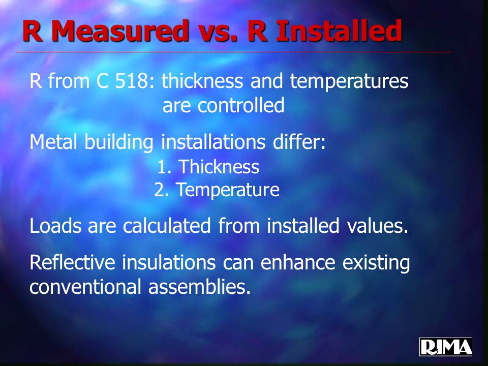 R Measured vs. R Installed R from C 518: thickness and temperatures are controlled Metal building installations differ: 1. Thickness 2. Temperature Lo
