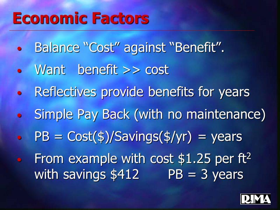 "Economic Factors Balance ""Cost"" against ""Benefit"". Balance ""Cost"" against ""Benefit"". Want benefit >> cost Want benefit >> cost Reflectives provide ben"