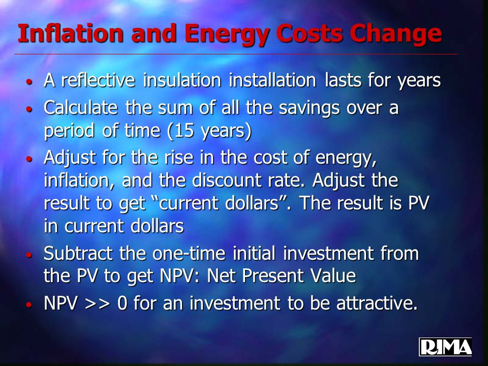 Inflation and Energy Costs Change A reflective insulation installation lasts for years A reflective insulation installation lasts for years Calculate