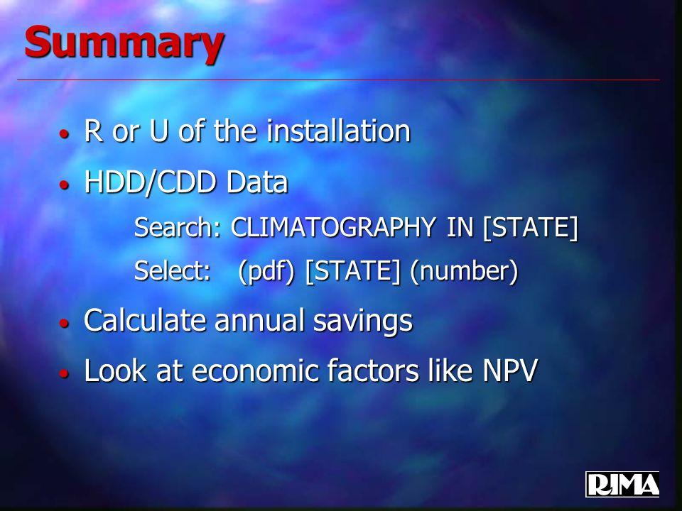 Summary R or U of the installation R or U of the installation HDD/CDD Data HDD/CDD Data Search: CLIMATOGRAPHY IN [STATE] Search: CLIMATOGRAPHY IN [STA