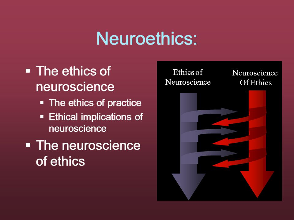 Neuroethics:  The ethics of neuroscience  The ethics of practice  Ethical implications of neuroscience  The neuroscience of ethics  The ethics of neuroscience  The ethics of practice  Ethical implications of neuroscience  The neuroscience of ethics Ethics of Neuroscience Of Ethics