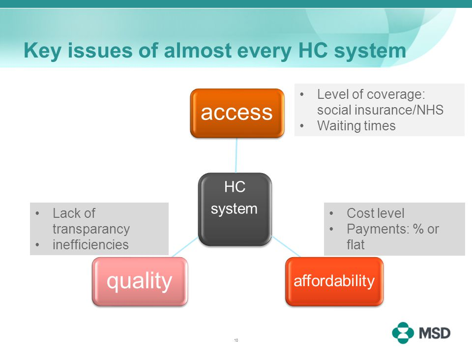 Key issues of almost every HC system HC system access affordability quality Level of coverage: social insurance/NHS Waiting times Cost level Payments: % or flat Lack of transparancy inefficiencies 18