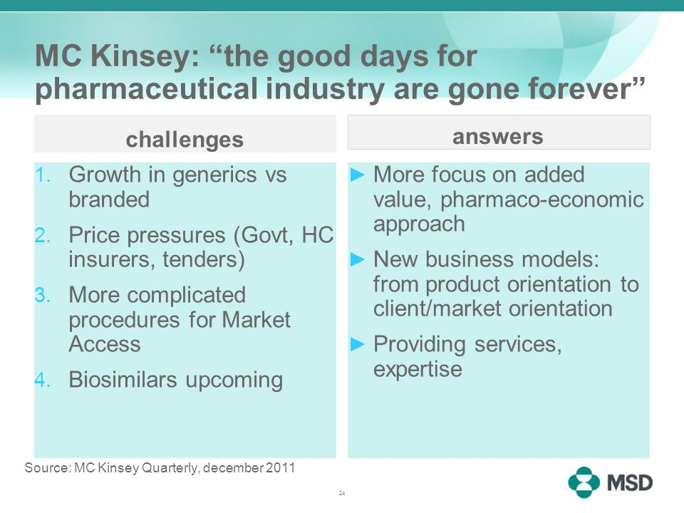 MC Kinsey: the good days for pharmaceutical industry are gone forever challenges 1.