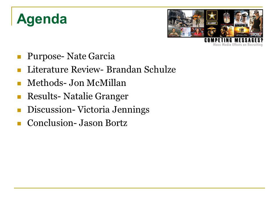 Agenda Purpose- Nate Garcia Literature Review- Brandan Schulze Methods- Jon McMillan Results- Natalie Granger Discussion- Victoria Jennings Conclusion- Jason Bortz