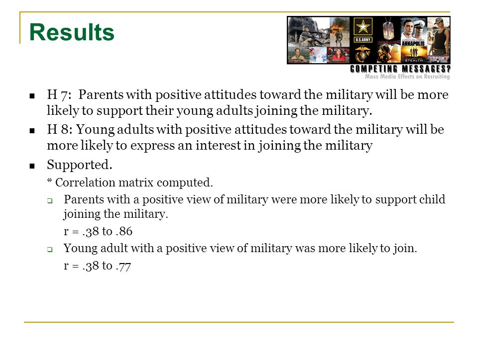 Results H 7: Parents with positive attitudes toward the military will be more likely to support their young adults joining the military.