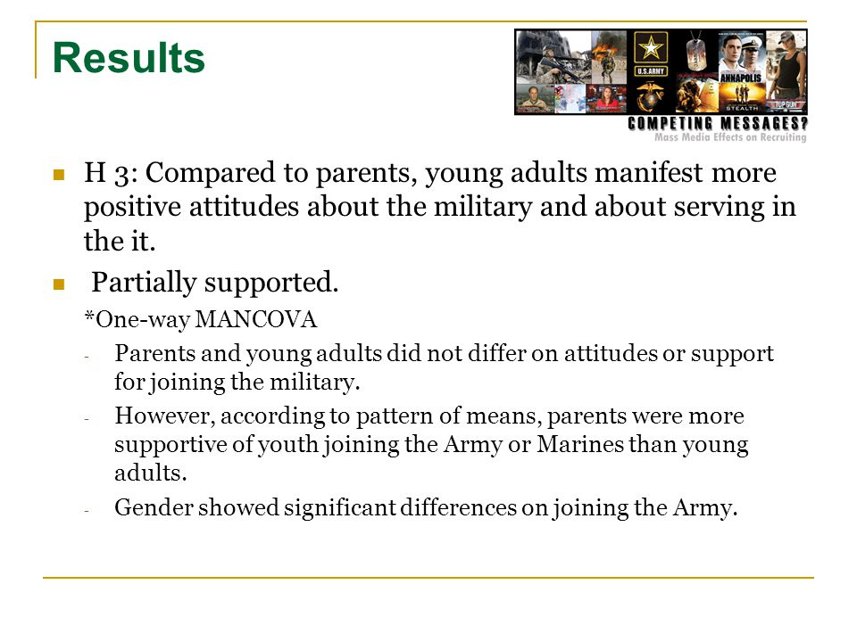 H 3: Compared to parents, young adults manifest more positive attitudes about the military and about serving in the it.