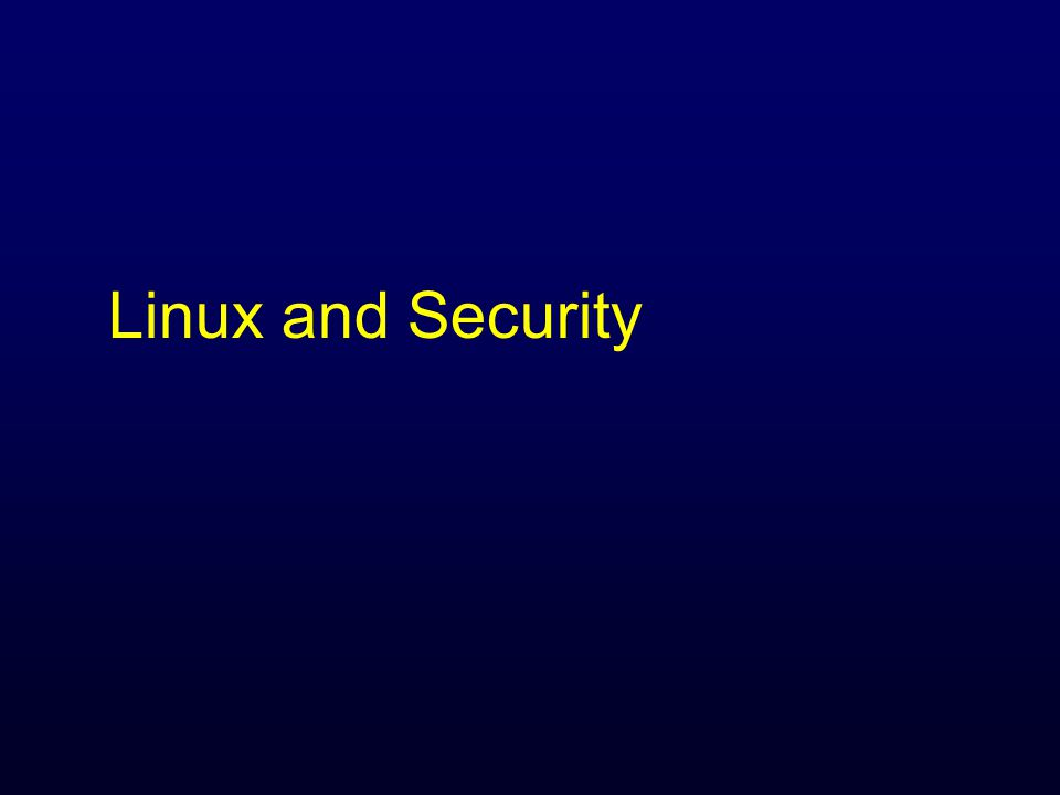 Linux and Security
