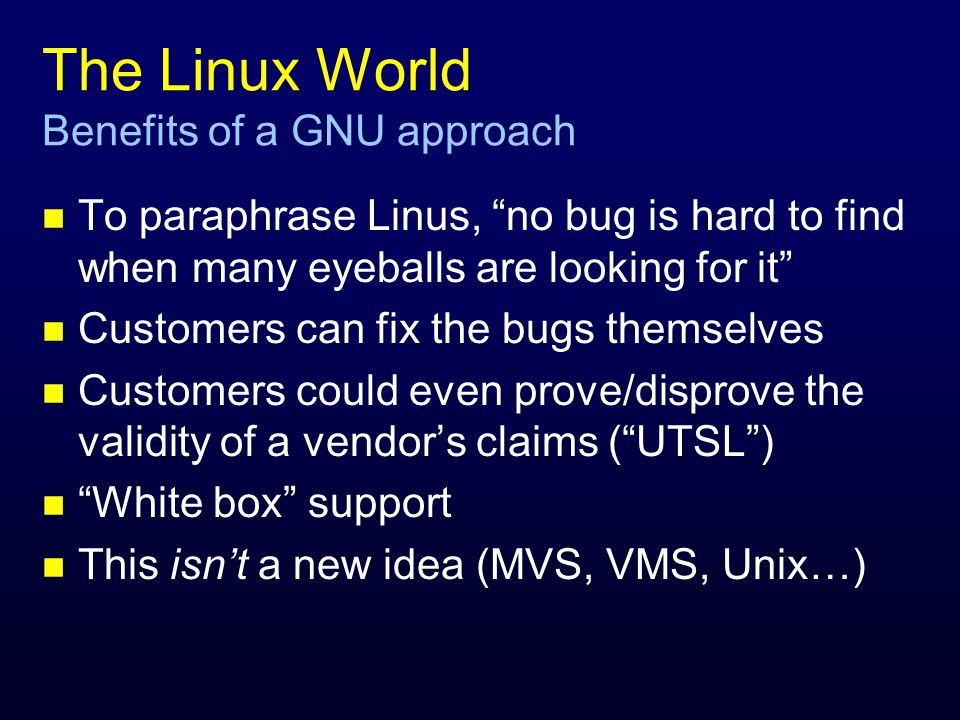 The Linux World why would a vendor do this.