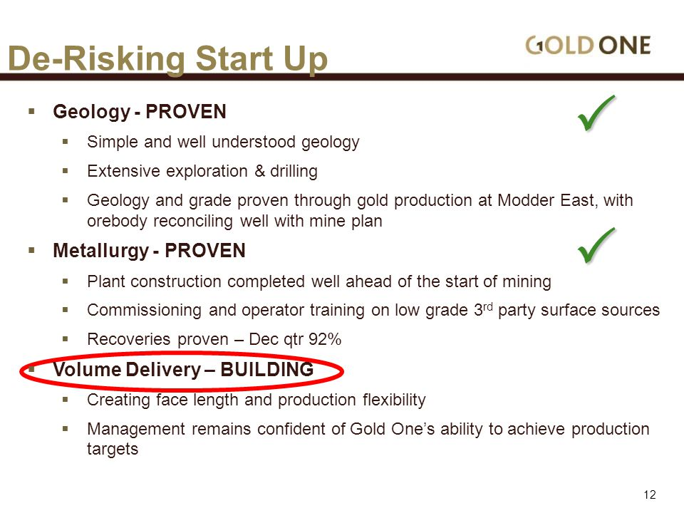 De-Risking Start Up  Geology - PROVEN  Simple and well understood geology  Extensive exploration & drilling  Geology and grade proven through gold production at Modder East, with orebody reconciling well with mine plan  Metallurgy - PROVEN  Plant construction completed well ahead of the start of mining  Commissioning and operator training on low grade 3 rd party surface sources  Recoveries proven – Dec qtr 92%  Volume Delivery – BUILDING  Creating face length and production flexibility  Management remains confident of Gold One's ability to achieve production targets   12