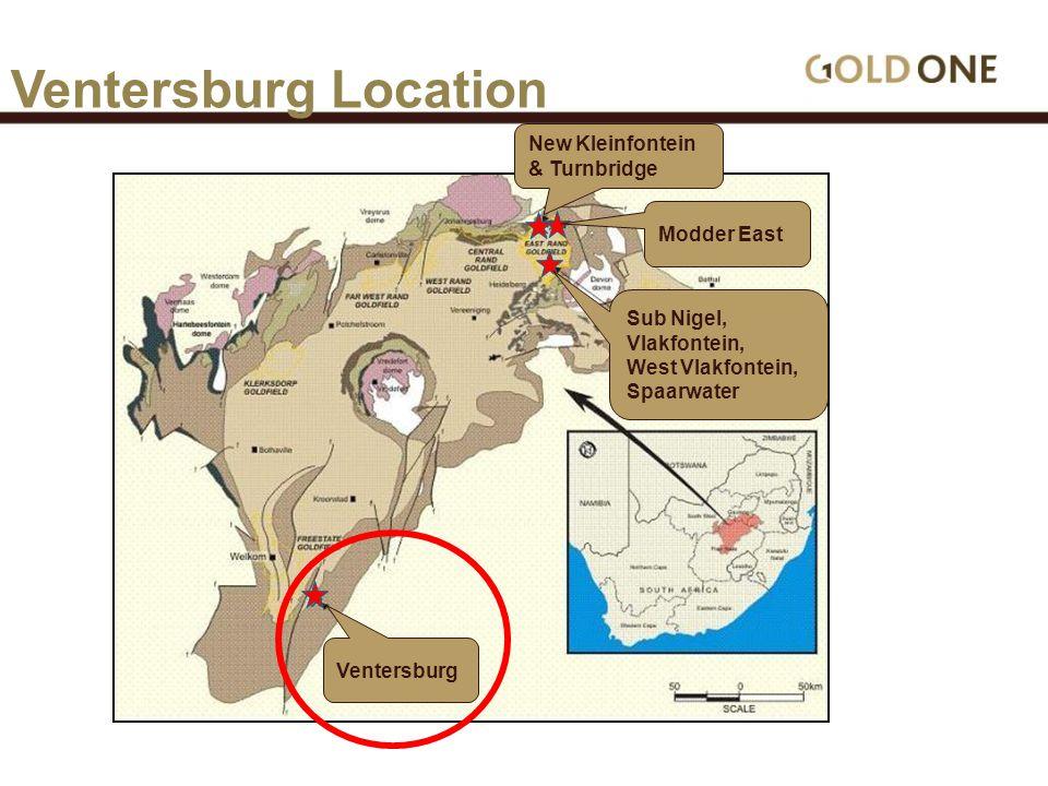 Ventersburg Sub Nigel, Vlakfontein, West Vlakfontein, Spaarwater Modder East New Kleinfontein & Turnbridge Ventersburg Location