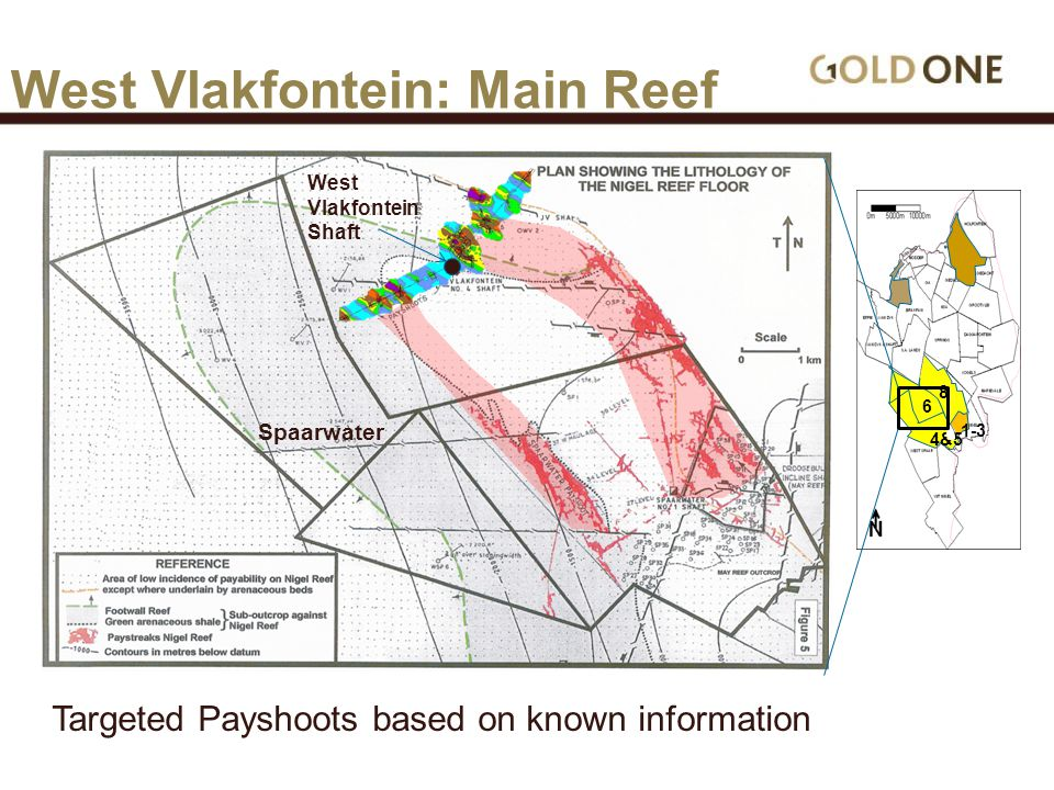 6 4&5 8 1-3 West Vlakfontein: Main Reef West Vlakfontein Shaft Spaarwater Targeted Payshoots based on known information