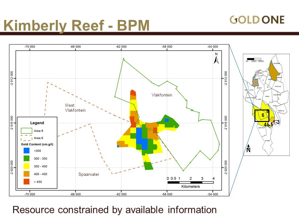 6 4&5 8 1-3 Kimberly Reef - BPM West Vlakfontein Spaarwater Resource constrained by available information