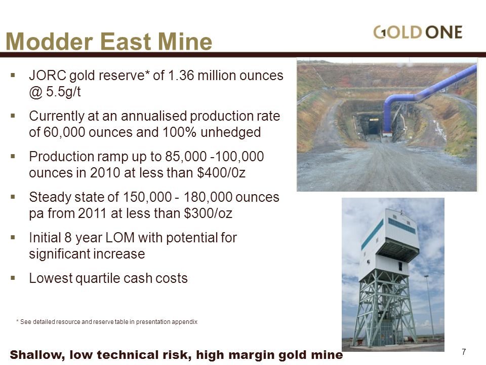  JORC gold reserve* of 1.36 million ounces @ 5.5g/t  Currently at an annualised production rate of 60,000 ounces and 100% unhedged  Production ramp up to 85,000 -100,000 ounces in 2010 at less than $400/0z  Steady state of 150,000 - 180,000 ounces pa from 2011 at less than $300/oz  Initial 8 year LOM with potential for significant increase  Lowest quartile cash costs Modder East Mine * See detailed resource and reserve table in presentation appendix Shallow, low technical risk, high margin gold mine 7
