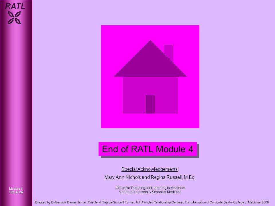 RATL  Module 4: 137 of 137 Created by Culberson, Dewey, Ismail, Friedland, Tejada-Simon & Turner.