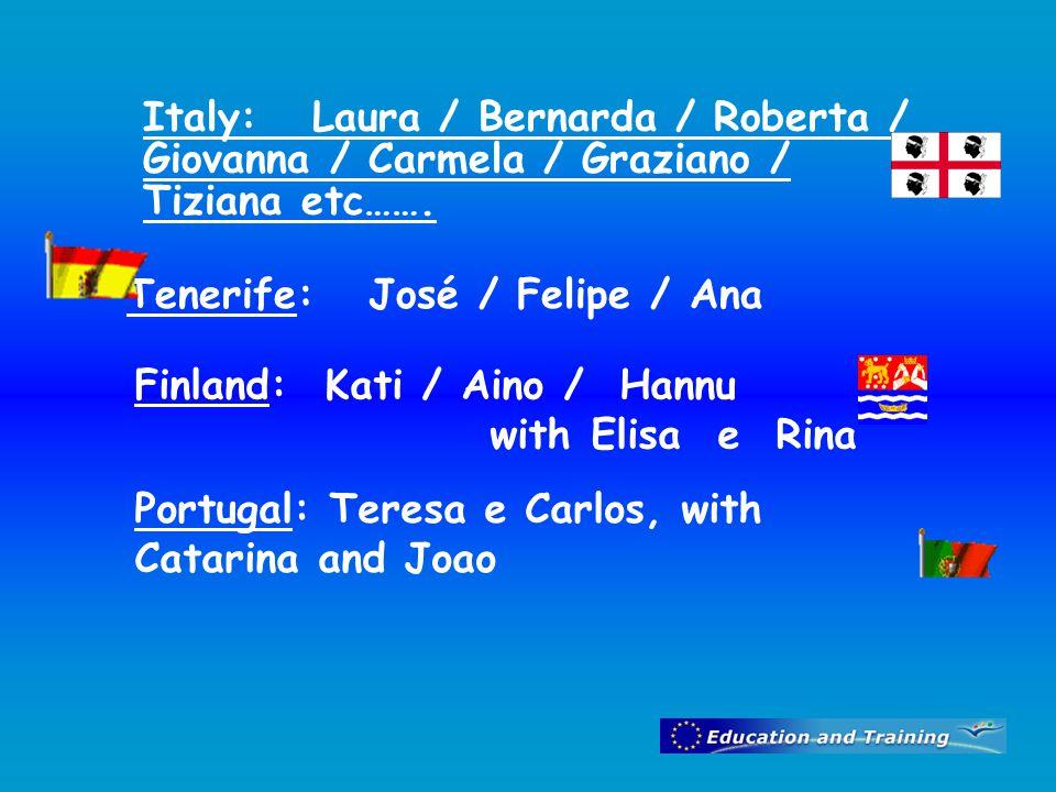 Italy: Laura / Bernarda / Roberta / Giovanna / Carmela / Graziano / Tiziana etc…….