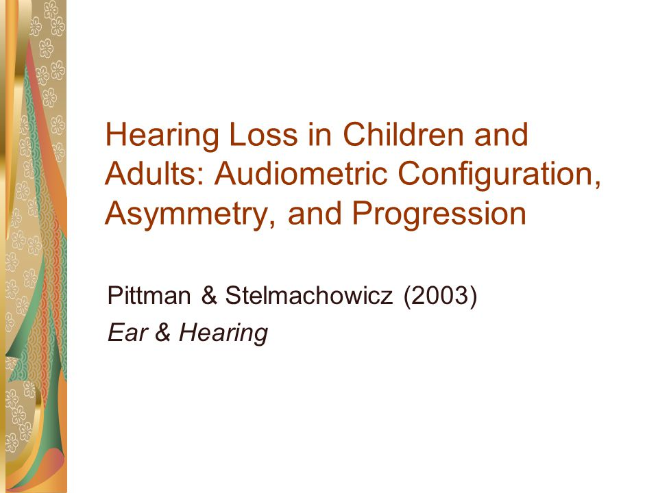 Effect of minimal hearing loss on children's ability to multitask in quiet and in noise McFadden & Pittman (submitted) J Lang Sp Hear Ser Schls
