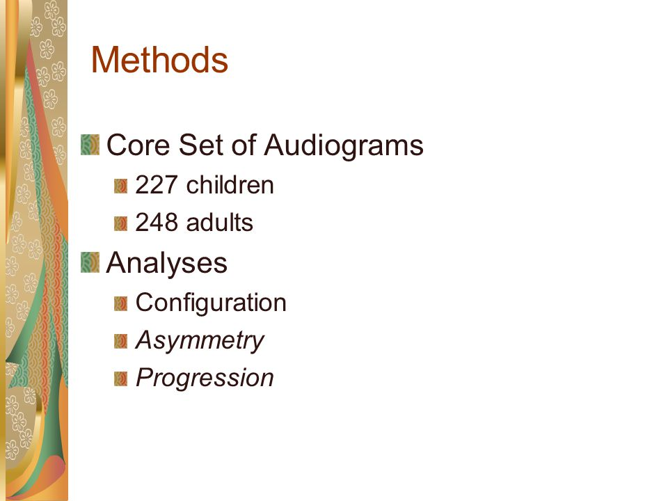 Methods Groups 6-year-old children 60-year-old adults Audiogram Selection Criteria Right ear thresholds Pure-tone thresholds at octave frequencies (250-8000 Hz) At least one threshold > 30 dB HL Confirmed sensorineural hearing losses (air-bone gaps < 10 dB)