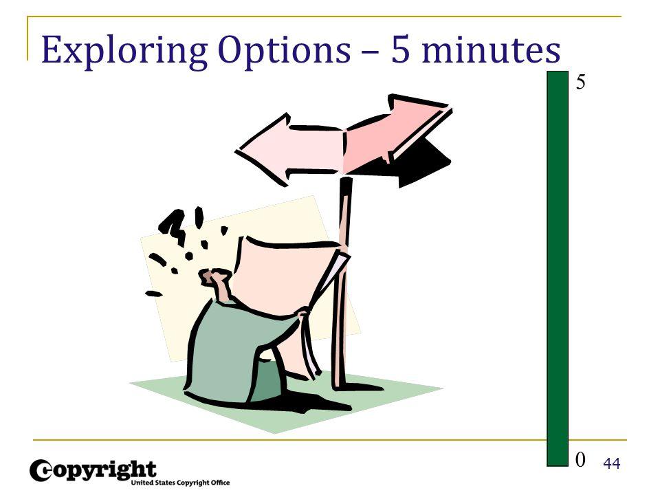 44 Exploring Options – 5 minutes 5 0