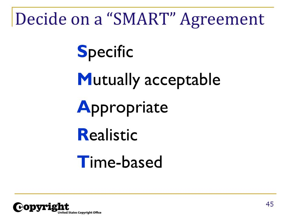 """45 Decide on a """"SMART"""" Agreement Specific Mutually acceptable Appropriate Realistic Time-based"""