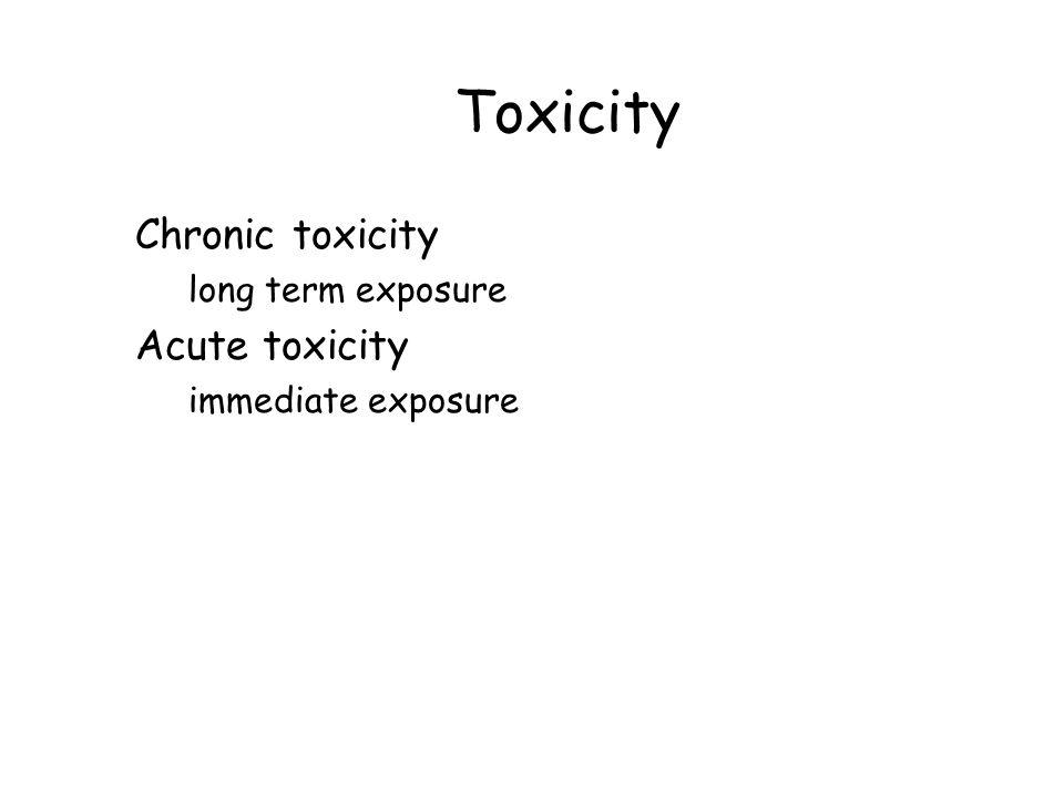 Toxicity Chronic toxicity long term exposure Acute toxicity immediate exposure
