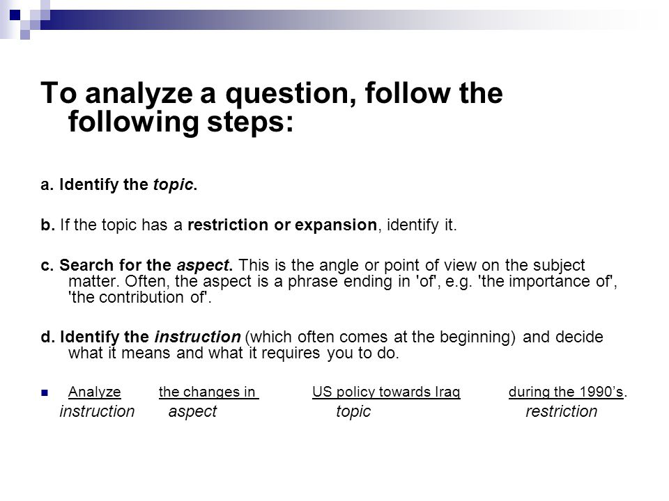 Task 1/2 Analyze the following questions: (i.e.