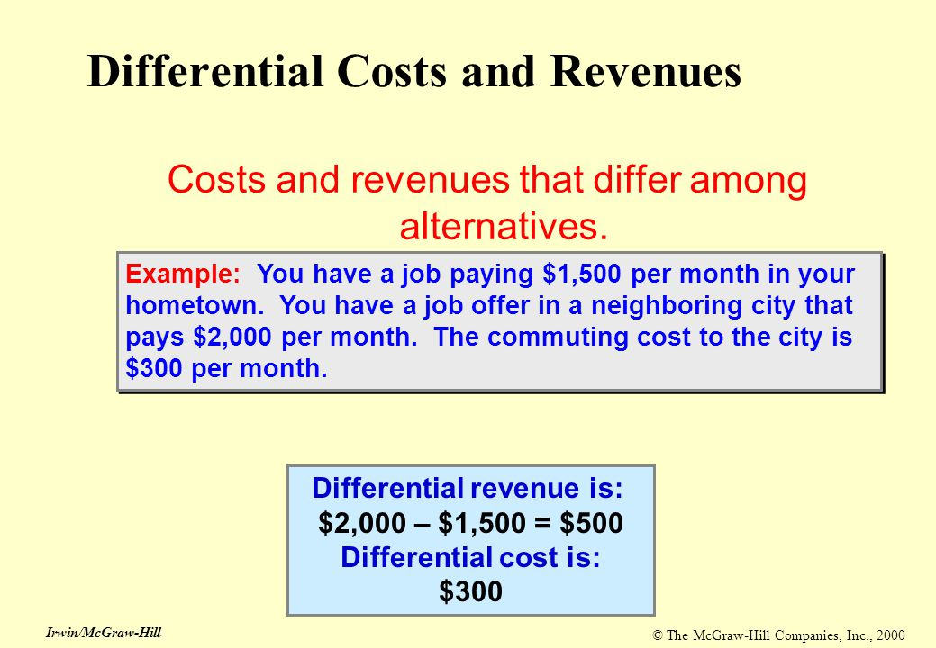 © The McGraw-Hill Companies, Inc., 2000 Irwin/McGraw-Hill Differential Costs and Revenues Costs and revenues that differ among alternatives. Different