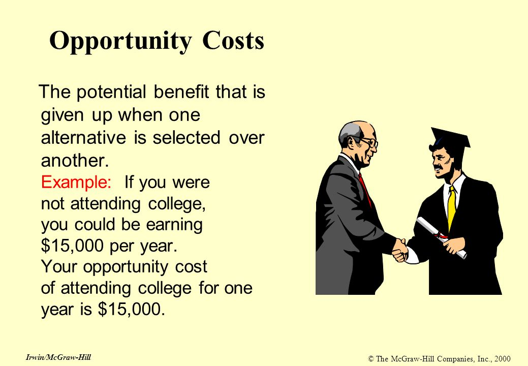 © The McGraw-Hill Companies, Inc., 2000 Irwin/McGraw-Hill Opportunity Costs The potential benefit that is given up when one alternative is selected ov