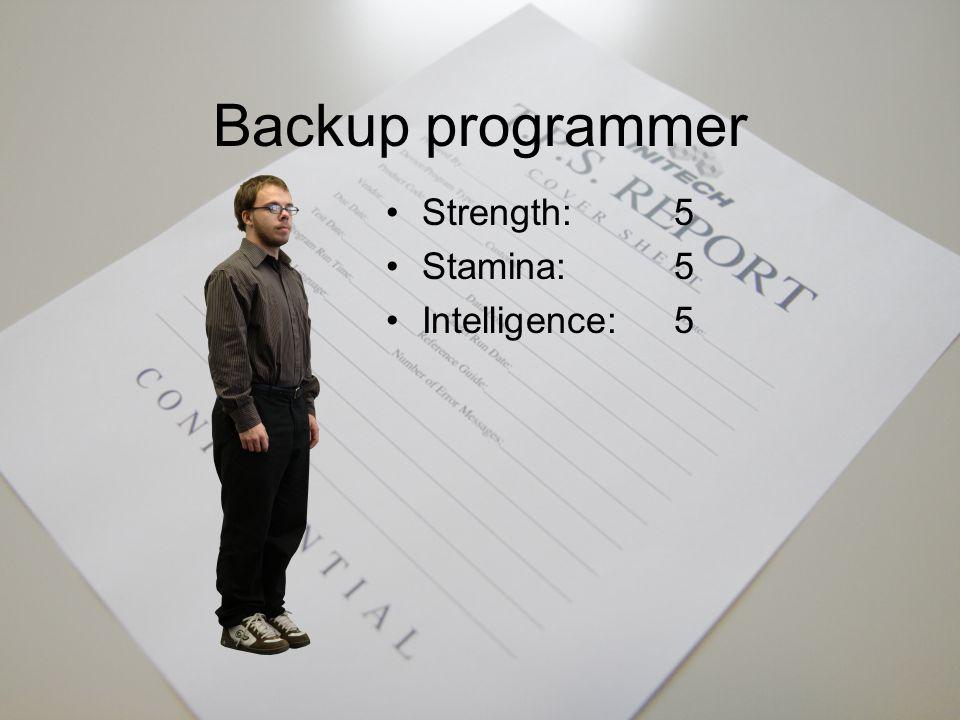Chief programmer Strength:3 Stamina:5 Intelligence:7