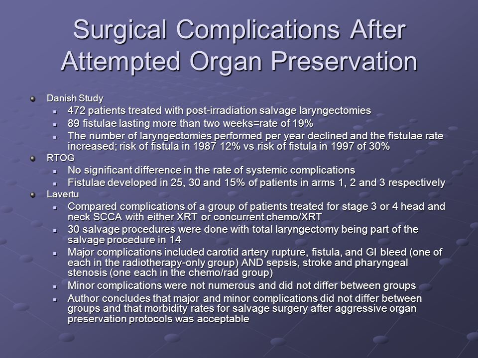Surgical Complications After Attempted Organ Preservation Danish Study 472 patients treated with post-irradiation salvage laryngectomies 472 patients