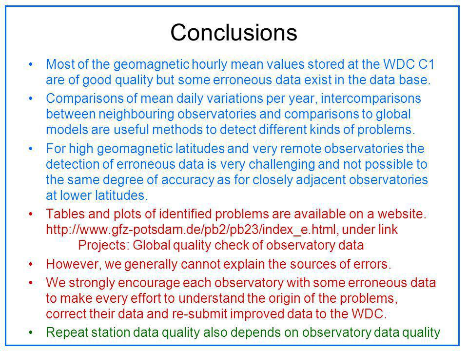 Conclusions Most of the geomagnetic hourly mean values stored at the WDC C1 are of good quality but some erroneous data exist in the data base. Compar