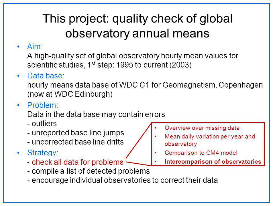 Aim: A high-quality set of global observatory hourly mean values for scientific studies, 1 st step: 1995 to current (2003) Data base: hourly means data base of WDC C1 for Geomagnetism, Copenhagen (now at WDC Edinburgh) Problem: Data in the data base may contain errors - outliers - unreported base line jumps - uncorrected base line drifts Strategy: - check all data for problems - compile a list of detected problems - encourage individual observatories to correct their data This project: quality check of global observatory annual means Overview over missing data Mean daily variation per year and observatory Comparison to CM4 model Intercomparison of observatories check all data for problems