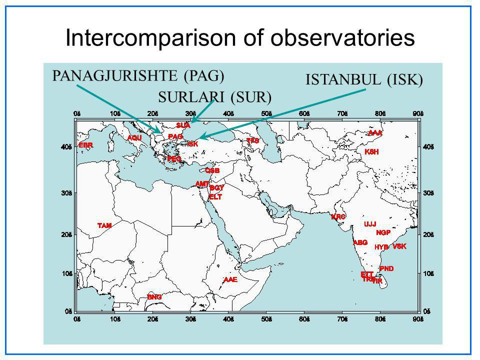 Intercomparison of observatories PANAGJURISHTE (PAG) ISTANBUL (ISK) SURLARI (SUR)