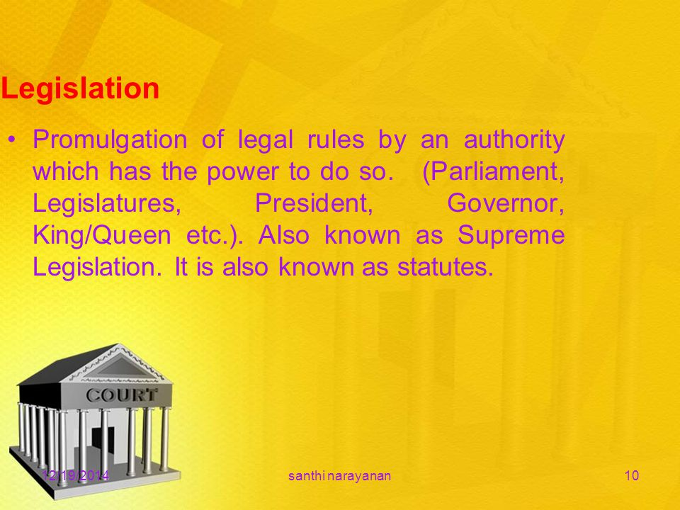 12/19/2014santhi narayanan10 Legislation Promulgation of legal rules by an authority which has the power to do so.