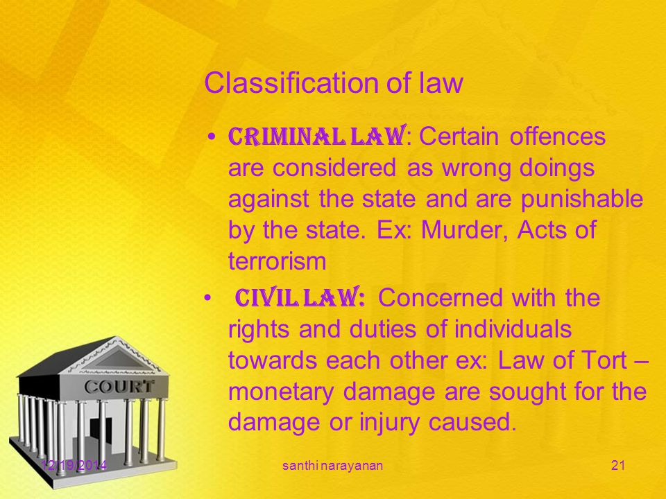 Classification of law Criminal law : Certain offences are considered as wrong doings against the state and are punishable by the state.