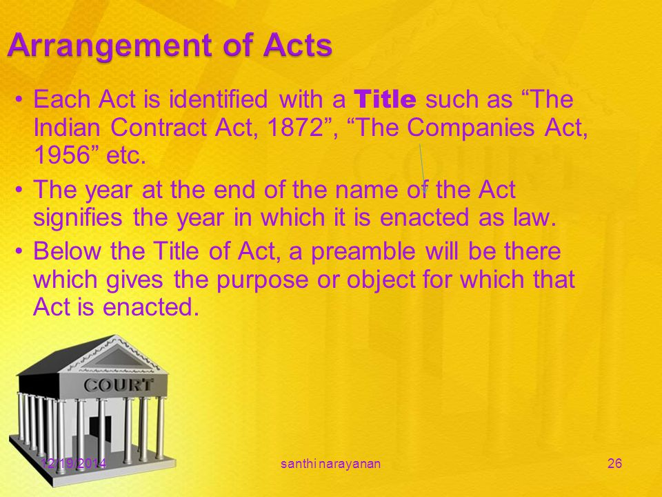 12/19/2014santhi narayanan26 Each Act is identified with a Title such as The Indian Contract Act, 1872 , The Companies Act, 1956 etc.