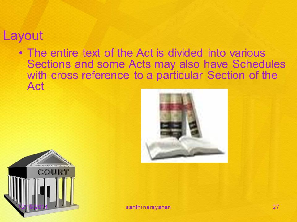 12/19/2014santhi narayanan27 The entire text of the Act is divided into various Sections and some Acts may also have Schedules with cross reference to a particular Section of the Act Layout