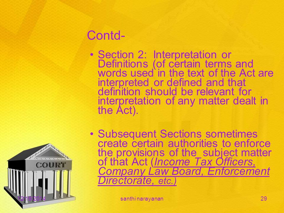 Contd- Section 2: Interpretation or Definitions (of certain terms and words used in the text of the Act are interpreted or defined and that definition should be relevant for interpretation of any matter dealt in the Act).