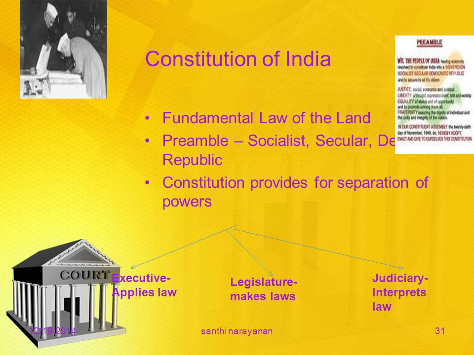 Constitution of India Fundamental Law of the Land Preamble – Socialist, Secular, Democratic, Republic Constitution provides for separation of powers 12/19/2014santhi narayanan31 Executive- Applies law Legislature- makes laws Judiciary- Interprets law