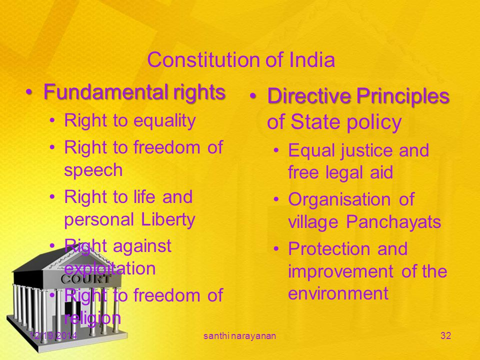 Constitution of India Fundamental rightsFundamental rights Right to equality Right to freedom of speech Right to life and personal Liberty Right against exploitation Right to freedom of religion Directive PrinciplesDirective Principles of State policy Equal justice and free legal aid Organisation of village Panchayats Protection and improvement of the environment 12/19/2014santhi narayanan32