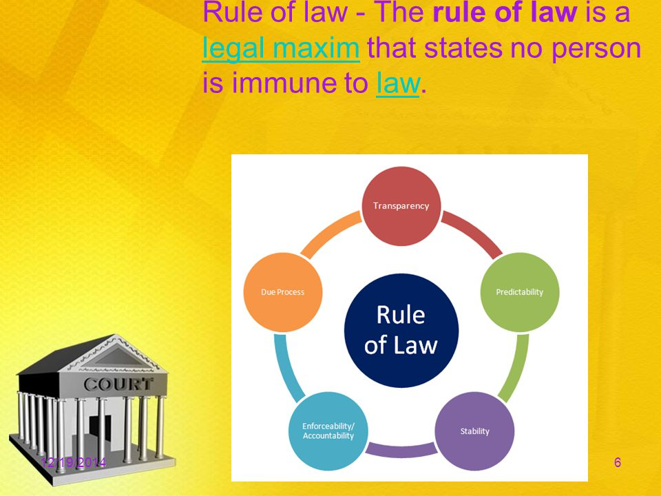 Rule of law - The rule of law is a legal maxim that states no person is immune to law.