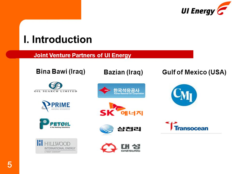 5 I. Introduction Joint Venture Partners of UI Energy Bina Bawi (Iraq) Bazian (Iraq)Gulf of Mexico (USA)