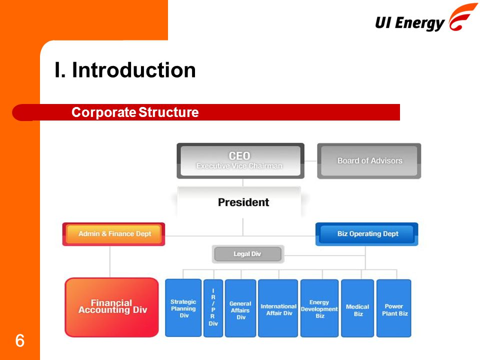 6 I. Introduction Corporate Structure