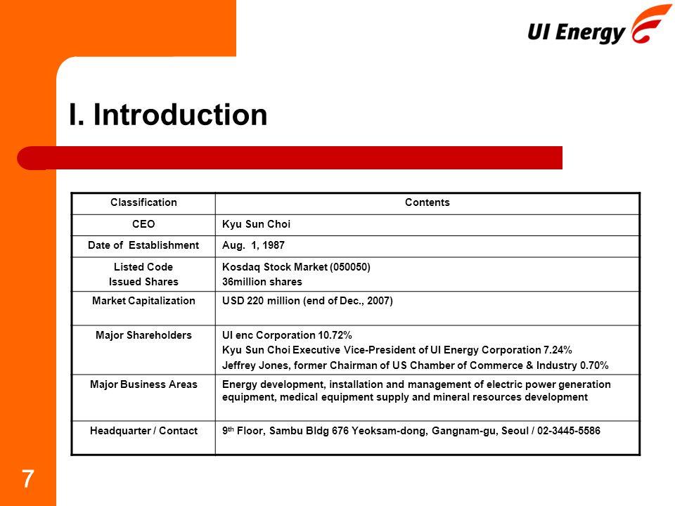 7 I. Introduction ClassificationContents CEOKyu Sun Choi Date of EstablishmentAug.