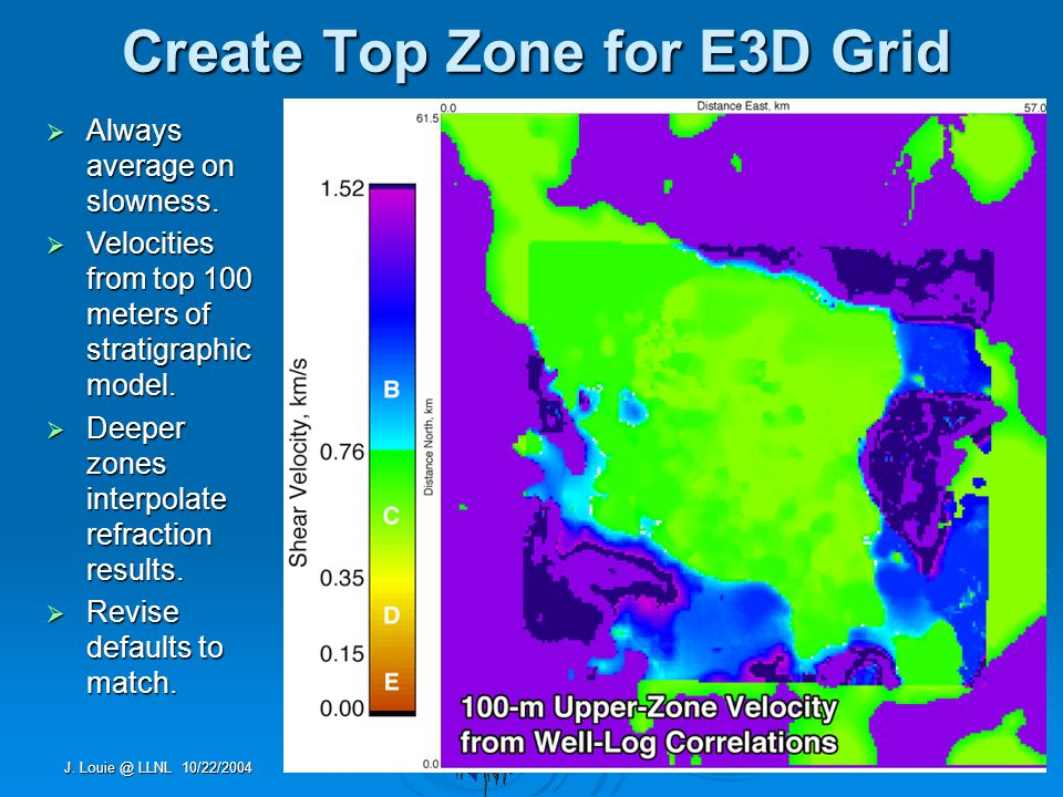 J. Louie @ LLNL 10/22/2004 Create Top Zone for E3D Grid  Always average on slowness.