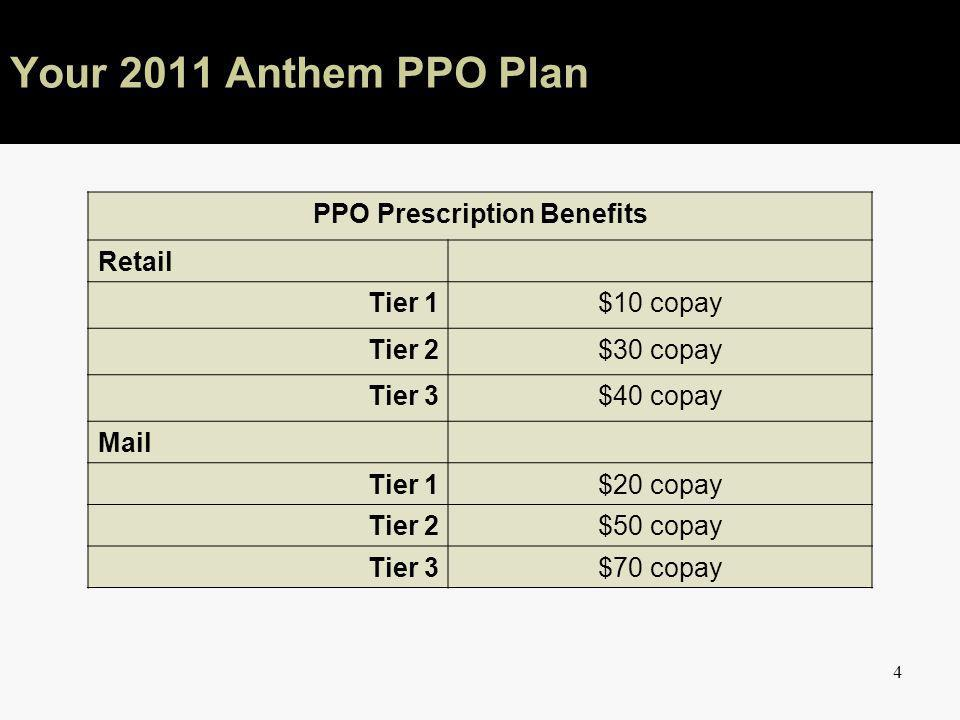 4 Your 2011 Anthem PPO Plan PPO Prescription Benefits Retail Tier 1$10 copay Tier 2$30 copay Tier 3$40 copay Mail Tier 1$20 copay Tier 2$50 copay Tier 3$70 copay