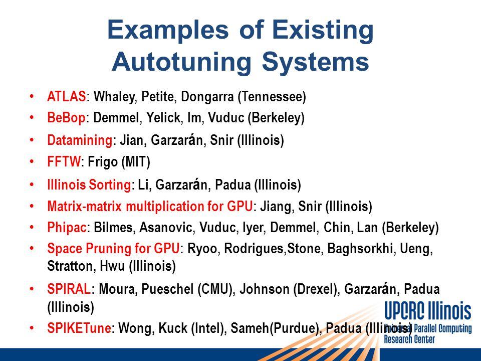 Examples of Existing Autotuning Systems ATLAS: Whaley, Petite, Dongarra (Tennessee) BeBop: Demmel, Yelick, Im, Vuduc (Berkeley) Datamining: Jian, Garzar á n, Snir (Illinois) FFTW: Frigo (MIT) Illinois Sorting: Li, Garzar á n, Padua (Illinois) Matrix-matrix multiplication for GPU: Jiang, Snir (Illinois) Phipac: Bilmes, Asanovic, Vuduc, Iyer, Demmel, Chin, Lan (Berkeley) Space Pruning for GPU: Ryoo, Rodrigues,Stone, Baghsorkhi, Ueng, Stratton, Hwu (Illinois) SPIRAL: Moura, Pueschel (CMU), Johnson (Drexel), Garzar á n, Padua (Illinois) SPIKETune: Wong, Kuck (Intel), Sameh(Purdue), Padua (Illinois)