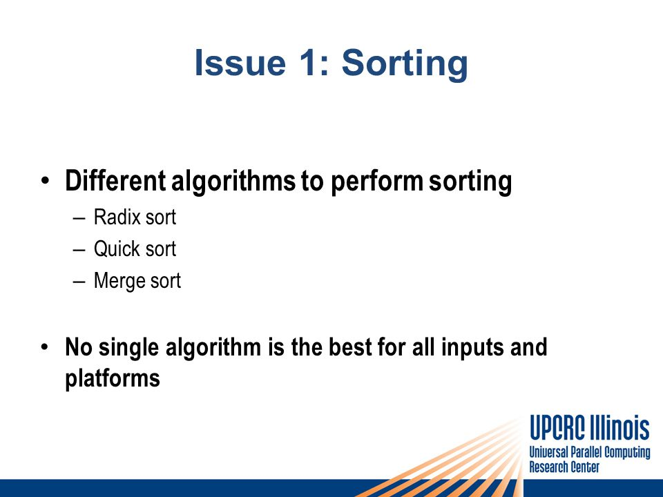 Issue 1: Sorting Different algorithms to perform sorting – Radix sort – Quick sort – Merge sort No single algorithm is the best for all inputs and platforms
