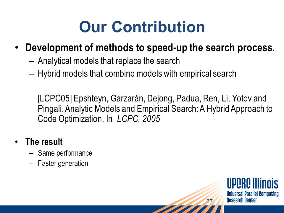 37 Our Contribution Development of methods to speed-up the search process.