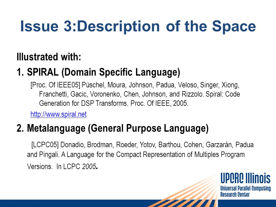 Issue 3:Description of the Space Illustrated with: 1.SPIRAL (Domain Specific Language) [Proc.